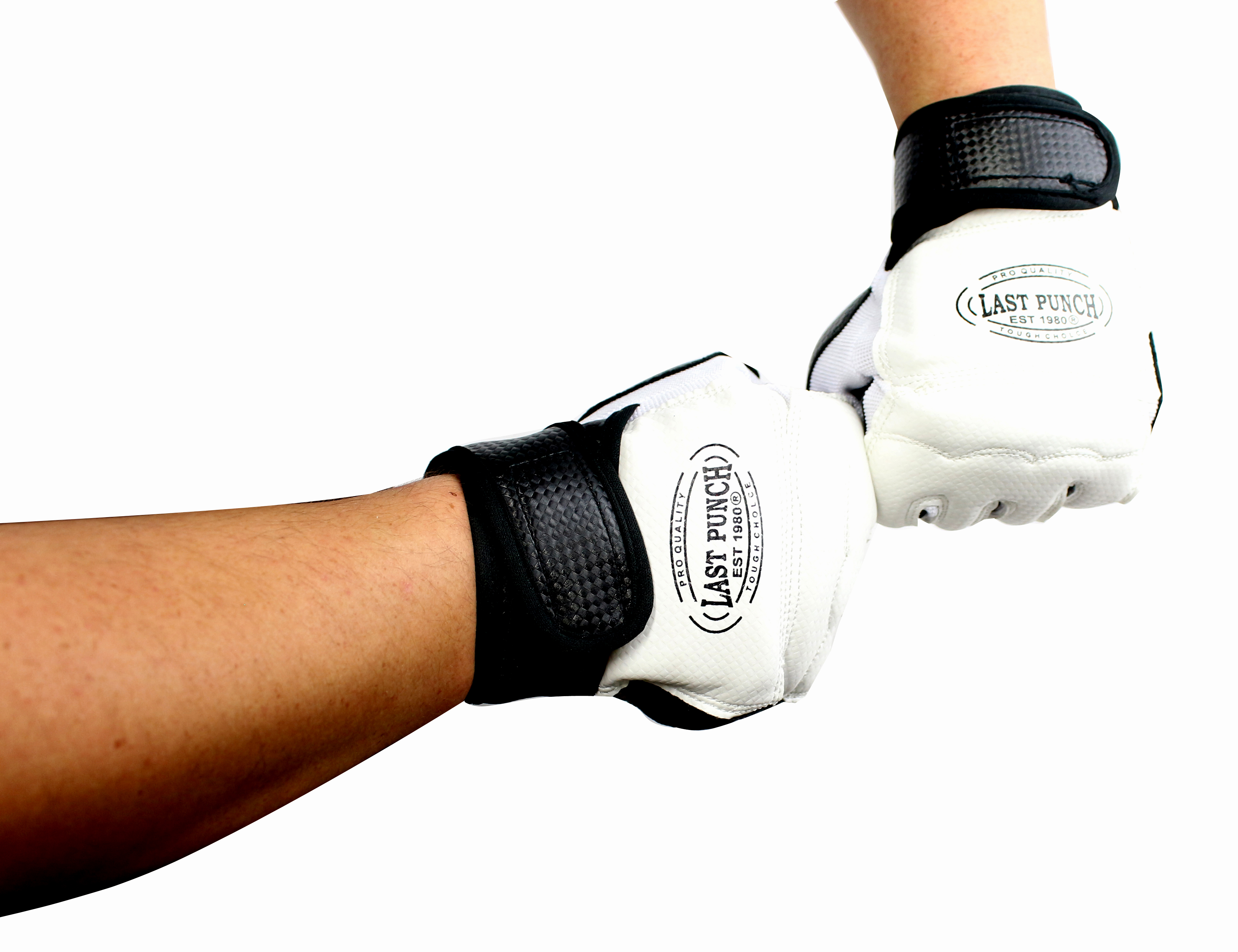 Pair of Last Punch Pro Style Artificial Leather Fingerless Boxing Fighting MMA Training Gloves Black
