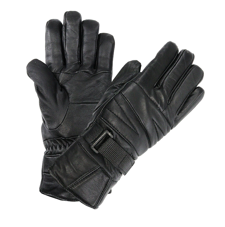 Perrini Motorcycle Gloves Leather Biker Gloves Velcro Strap Black Color